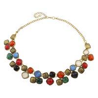 Ожерелья из полимерной смолы, цинковый сплав, с канифоль, с 7cm наполнитель цепи, плакированный цветом под старое золото, Женский, не содержит свинец и кадмий, 29x30x7mm, Продан через Приблизительно 19.5 дюймовый Strand