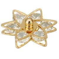 Ободок для волос, Латунь, Форма цветка, плакирован золотом, с кубическим цирконием, 23.50x21x10mm, 10ПК/Лот, продается Лот