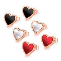 титан Сережка-гвоздик, с Ракушка, Сердце, плакированный цветом розового золота, Женский, Много цветов для выбора, 9mm, продается Пара