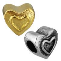 нержавеющая сталь бусины Европейская стиль, Сердце, Другое покрытие, без Тролль, Много цветов для выбора, 11x11x9mm, отверстие:Приблизительно 5mm, 10ПК/сумка, продается сумка