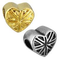Европейские стильные бусины из нержавеющей стали, нержавеющая сталь, Сердце, Другое покрытие, без Тролль, Много цветов для выбора, 11.50x10.50x8mm, отверстие:Приблизительно 5mm, 10ПК/сумка, продается сумка