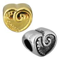 Европейские стильные бусины из нержавеющей стали, нержавеющая сталь, Сердце, Другое покрытие, без Тролль, Много цветов для выбора, 10x10x9mm, отверстие:Приблизительно 5mm, 10ПК/сумка, продается сумка