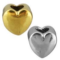 Европейские стильные бусины из нержавеющей стали, нержавеющая сталь, Сердце, Другое покрытие, без Тролль, Много цветов для выбора, 11x10x8mm, отверстие:Приблизительно 5mm, 10ПК/сумка, продается сумка