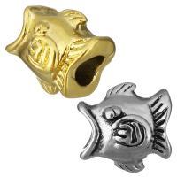 Европейские стильные бусины из нержавеющей стали, нержавеющая сталь, Рыба, Другое покрытие, без Тролль, Много цветов для выбора, 14x13x12mm, отверстие:Приблизительно 5mm, 10ПК/сумка, продается сумка