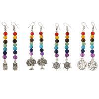 Серьги из камня, Латунь, с Полудрагоценный камень, плакированный цветом под старое серебро, разные стили для выбора & Женский, продается Пара