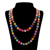 Белая ракушка Свитер ожерелье, с Латунь, Квадратная форма, Мужская, Много цветов для выбора, 11x3mm, длина:Приблизительно 56.5 дюймовый, 10пряди/сумка, продается сумка