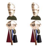 цинковый сплав Сережка, с планка & деревянный, Другое покрытие, многослойный & Женский, не содержит никель, свинец, 34x117mm, продается Пара