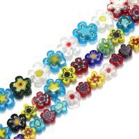 Бисер, выполненный в технике миллефиори, Стекло Шеврон, Форма цветка, разный размер для выбора, отверстие:Приблизительно 1mm, Продан через Приблизительно 16 дюймовый Strand