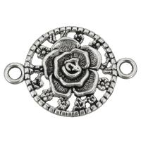 Цветок цинкового сплава разъем, цинковый сплав, Форма цветка, плакированный цветом под старое серебро, 1/1 петля, не содержит никель, свинец, 46x32x4mm, отверстие:Приблизительно 4mm, 100ПК/сумка, продается сумка