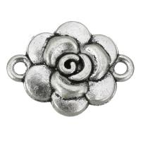 Цветок цинкового сплава разъем, цинковый сплав, Форма цветка, плакированный цветом под старое серебро, 1/1 петля, не содержит никель, свинец, 19x15x3.50mm, отверстие:Приблизительно 2mm, 200ПК/сумка, продается сумка