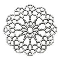 Ювелирные кабошоны из цинкового сплава, цинковый сплав, Форма цветка, плакированный цветом под старое серебро, отверстие, не содержит никель, свинец, 39x2.50mm, отверстие:Приблизительно 3.5mm, 200ПК/сумка, продается сумка