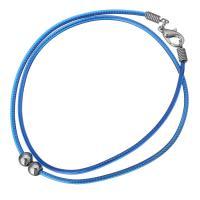 Нейлоновый шнурок Шнурок для ожерелий, с Латунь, плакирован серебром, 5x6mm, 2mm, длина:Приблизительно 17 дюймовый, 10пряди/Лот, продается Лот