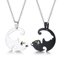 нержавеющая сталь Головоломка ожерелье, Кошка, Другое покрытие, Овальный цепь & для пара, 29x27mm, 2пряди/указан, продается указан