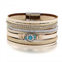Завернутый браслет, PO Кожа, с Акрил, Мужская & разные стили для выбора & со стразами, продается Strand