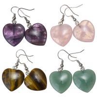 Полудрагоценный камень Сережка, латунь крюк, Сердце, плакирован серебром, различные материалы для выбора & Женский, 40mm, 20x24mm, продается Пара