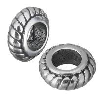 Европейские стильные бусины из нержавеющей стали, нержавеющая сталь, Круглая форма, без Тролль & чернеют, 8.50x3.50x8.50mm, отверстие:Приблизительно 4.5mm, 10ПК/Лот, продается Лот