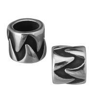 Европейские стильные бусины из нержавеющей стали, нержавеющая сталь, Круглая форма, без Тролль & чернеют, 7.50x7x7.50mm, отверстие:Приблизительно 5mm, 10ПК/Лот, продается Лот