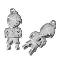 Ювелирные подвески из нержавеющей стали, нержавеющая сталь, Мальчик, оригинальный цвет, 9x22x3mm, отверстие:Приблизительно 1.5mm, 100ПК/Лот, продается Лот