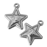 Ювелирные подвески из нержавеющей стали, нержавеющая сталь, Звезда, оригинальный цвет, 13x15x3.50mm, отверстие:Приблизительно 1.5mm, 100ПК/Лот, продается Лот