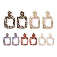 цинковый сплав Сережка-гвоздик, с Кристаллы, плакирован золотом, Женский & граненый & со стразами, Много цветов для выбора, не содержит никель, свинец, 50x80mm, продается Пара