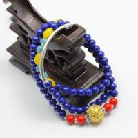 Голубая руда Врэп-браслет, с цинковый сплав, Другое покрытие, Женский & многонитевая, 6mm, Продан через Приблизительно 21 дюймовый Strand