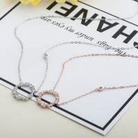 Серебряное ожерелье, 925 пробы, Другое покрытие, разный размер для выбора & Овальный цепь & инкрустированное микро стразы & Женский, Много цветов для выбора, 15mm, 3пряди/Лот, продается Лот
