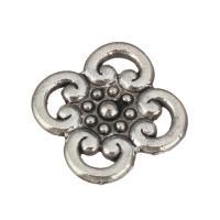 Ювелирные кабошоны из цинкового сплава, цинковый сплав, Форма цветка, плакированный цветом под старое серебро, не содержит никель, свинец, 16x16x3mm, 100ПК/Лот, продается Лот