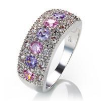 Модные кольца, цинковый сплав, плакирован серебром, разный размер для выбора & Женский & со стразами, не содержит никель, свинец, продается PC