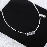Серебряное ожерелье, 925 пробы, с 1.18lnch наполнитель цепи, слово удачи, покрытый платиной, Овальный цепь & Женский & Эпоксидная стикер, 11x4mm, Продан через Приблизительно 15 дюймовый Strand