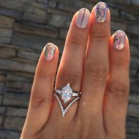 Модные кольца, цинковый сплав, плакирован серебром, разный размер для выбора & инкрустированное микро кубического циркония & Женский & со стразами, продается PC