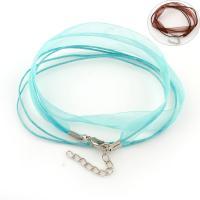 Нейлоновый шнурок Шнурок для ожерелий, с блестящая лента & Латунь, с 5cm наполнитель цепи, 3-нить, Много цветов для выбора, 11x0.5mm, длина:Приблизительно 17.3 дюймовый, 100пряди/сумка, продается сумка