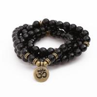 черный камень Врэп-браслет, с цинковый сплав, античная латунь цвет покрытием, Женский, Продан через Приблизительно 21 дюймовый Strand