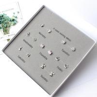 925 пробы Стад серьги Установить, плакированный настоящим серебром, разные стили для выбора & Женский & со стразами & разнообразный, не содержит никель, свинец, 9-20mm, 7Пары/указан, продается указан
