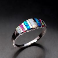 Модные кольца, цинковый сплав, с опал, плакирован серебром, разный размер для выбора & Женский, продается PC