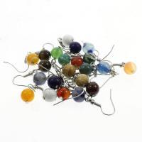 Серьги из камня, Полудрагоценный камень, латунь крюк, Круглая, различные материалы для выбора & Женский, 8mm, продается Пара