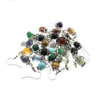 Серьги из камня, Полудрагоценный камень, с цинковый сплав, латунь крюк, Круглая, плакированный цветом под старое серебро, различные материалы для выбора & Женский, 8mm, продается Пара