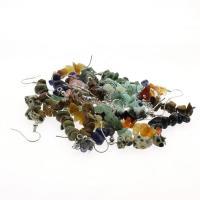 Серьги из камня, Полудрагоценный камень, латунь крюк, Комкообразная форма, различные материалы для выбора & Женский, 5-12mm, продается Пара