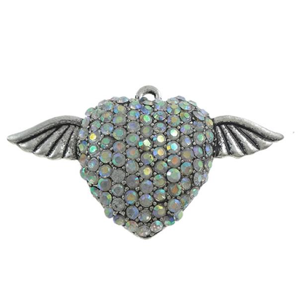 Sinkkiseos Hollow riipukset, Winged Heart, antiikki hopea päällystetty, tekojalokivi & ontto, enemmän värejä valinta, lyijy ja sen kadmium vapaa, 59x33x13mm, Reikä:N. 2.5mm, 10PC/laukku, Myymät laukku