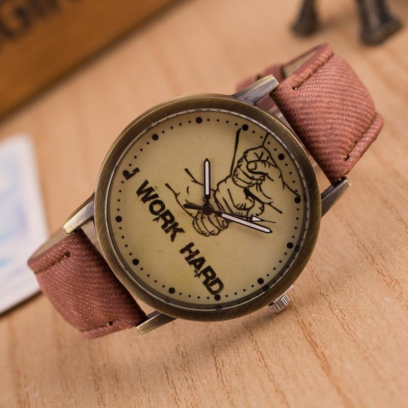 Часы унисекс, цинковый сплав, с Шнур из натуральной кожи & Стеклянный,